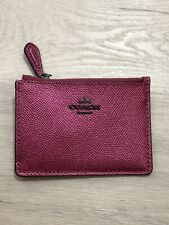 Coach Mini ID Skinny Key Chain Card Case Metallic Magenta Wallet