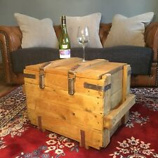 Vintage Reclaimed Pine Upcycled Army Trunk Chest Box Coffee Table Storage