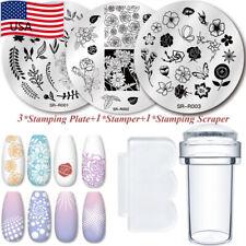 5PCS Nail Art Stamping Plates Scraper Stamper Image Stamp Template Round Set Kit