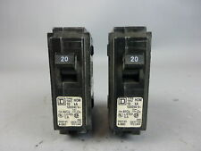 * Lot of 2 * Square D Circuit Breakers, 20 Amps, 1 Pole