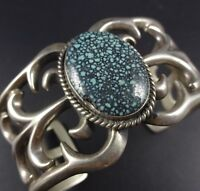 Vintage NAVAJO Sterling Silver & Webbed Indian Mountain TURQUOISE Cuff BRACELET