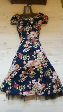 Size XL UK16 Hearts & Bows Floral 50's/Rockabilly Dress