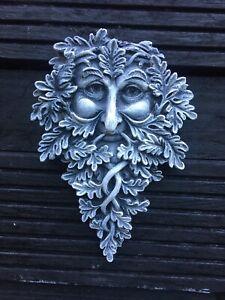 Green Man Forest Wall Plaque ~oak Guardian Quality Stone Garden Ornament