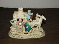 "VINTAGE JAPAN 7"" WIDE CERAMIC HORSE CARRIAGE COACH VICTORIAN LADY FIGURE"