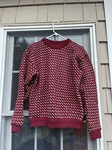 vtg LL BEAN birdseye sweater MEDIUM wool rayon blend blue nordic norway
