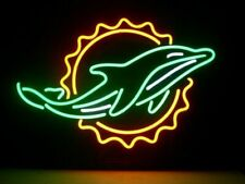 "Miami Dolphins Logo Neon Lamp Sign 20""x16"" Bar Light Beer Glass Windows Display"