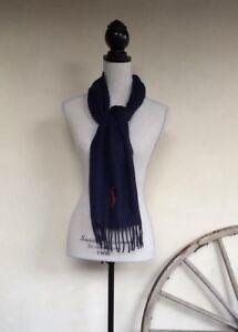 RALPH LAUREN Polo Classic Navy Blue Lamb Wool Scarf Large Orange Pony Warm NWT