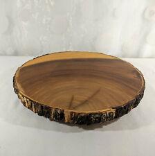 "Round Wood Slab Slice Bark Live Edge Footed Platter Floral Centerpiece Decor 12"""