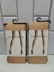 Lot Of 2 Via Spiga Honey Soft Shimmer Sheer Tight  Pantyhose Nylons Size A/B