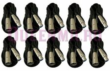 10 Lot - 6Ft XLR Pro Audio 3Pin Male Female Microphone Mic Cord Balanced Cables