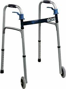 Drive Medical Delux Trigger Release Folding Walker Brushed Steel Aluminum LAST1!