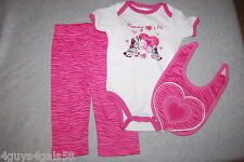 Baby Girls THREE PC SET Pants T Shirt Bib PINK Zebra Heart MOMMY LOVES ME 6-9 MO