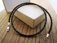 Braided Bolo Leather Cord Necklace & Pure Sterling Silver - mens - brown