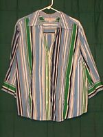 TOMMY HILFIGER Striped 3/4 Sleeve Button Front Shirt Top Size 22