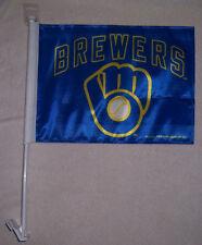 NEW 11X15in 2 SIDED MILWAUKEE BREWERS LIC MLB BASEBALL STORE CAR WINDOW FLAG