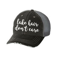 Lake Hair Don't Care Distressed Glitter Ladies Trucker Hat - Baseball Cap