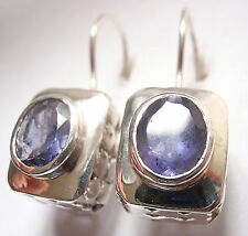 Faceted Oval Iolite Wire Back Earrings 925 Sterling Silver Rectangle 8 Grams New