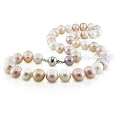 AAA++7-8mm White Pink Purple Multicolor Akoya Freshwater Pearl Necklace 18""
