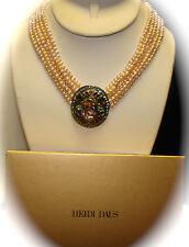 "HEIDI DAUS Crystal & Genuine Pearl Necklace ""Shirli Stunning"" Colorful NIB (J)"