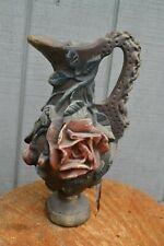 Vintage Chalkware Plaster Pitcher Carnival Prize Roses