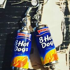 Unique TINNED HOTDOG EARRINGS fast food HOT DOGS handcrafted MINIATURE FOOD cute