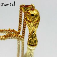 MENDEL Mens Gold World Cup Football Soccer Ball Trophy Pendant Necklace Jewelry