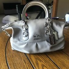 Coach Leather Signature Ashley Shoulder Bag Satchel Carryall Gray Medium 12937