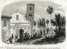 Pisa: Chiesa di San Michele degli Scalzi: Campanile inclinato.Stampa Antica.1857