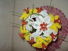 VINTAGE HANDMADE GLASS BEADED FLOWERS +GIFT