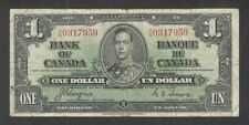 1937 $1.00 BC-21d F+ NICE King George VI COYNE-Towers Bank of Canada One Dollar