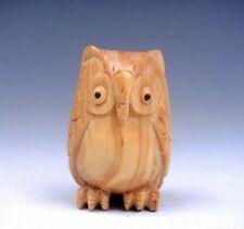 Boxwood Hand Carved Japanese Netsuke Sculpture Owl Night Eagle #04022003