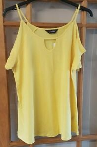 Ladies Yellow Cold Shoulder T-Shirt Top Size 16