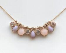 Gold Geometric Bar Necklace Dusty Pink and Purple Diamond