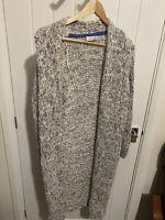 Per Una Cotton Ricxh Chunky Knit Long Cardigan Mulit Coloured Size 12