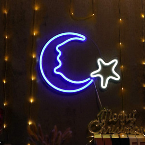 Neon Lights MOON STAR LED Sign Battery Operated, USB Powered LED Decoration Wall
