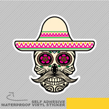 Mexican Skull Part Flower Hat Moust Vinyl Sticker Decal Window Car Van Bike 2497