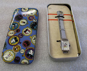 VINTAGE  AUTHENTIC MICKEY MOUSE TANK  WATCH with MESH BRACELET DS-326