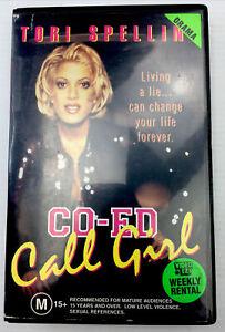 CO-ED Call Girl Tori Spelling VHS Video Cassette BlueTape Black Big Box PAL M15+