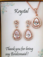 Rose Gold Bridal Jewelry Set Bridesmaid gift Cubic Zirconia Necklace Earring set