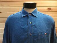 Bugatchi Uomo Button Front Shirt Men's L Blue LS Linen Shaped Fit