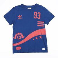ADIDAS Blue & Orange A CREW 93 Snake Print Sports T-Shirt Size Men's Medium