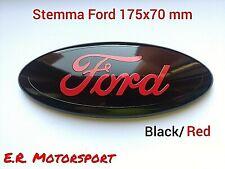 """Stemma Fregio Logo 7""""  FORD 17,5 X 7,0 colore BLACK/RED FOCUS C-MAX S-MAX"""