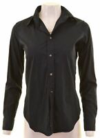 RALPH LAUREN Womens Shirt US 8 Medium Black Cotton Slim Fit  BB09