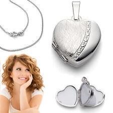 4 Bilder Fotos Medaillon Herz Amulett Foto Anhänger oval mit Kette Silber 925