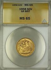 1958 Great Britain Sovereign Gold Coin ANACS MS-65 Gem BU (B)