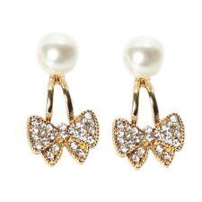 Ohrringe Strass Schleife und Perle Ohrstecker bow earrings