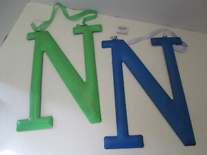 "Initial Wall Hanger, Letter ""N"" by Mud Pie, Green or Blue, NEW"