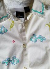 Liz Sport unique womens blouse Vintage Fish design Cotton Small Liz Claiborne