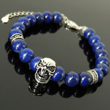 Skull Cross Pattern Bracelet Lapis Healing Stone S925 Sterling Silver Clasp 1413