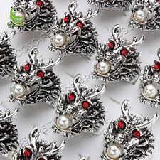 Wholesale Lots 20pcs Dragon Resin Pearl Rhinestone Silver Plated Man Rings FREE